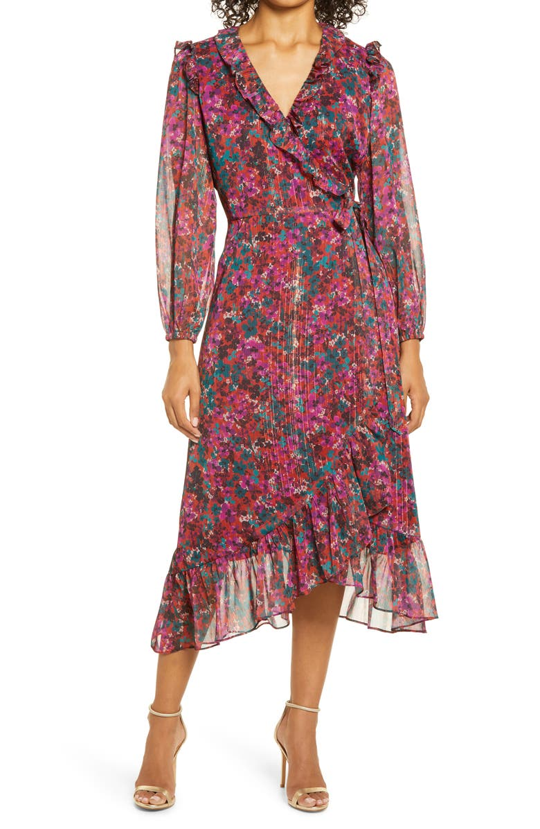 ADELYN RAE Carleigh Floral Chiffon Long Sleeve Wrap Dress, Main, color, MAGENTA BLOOM