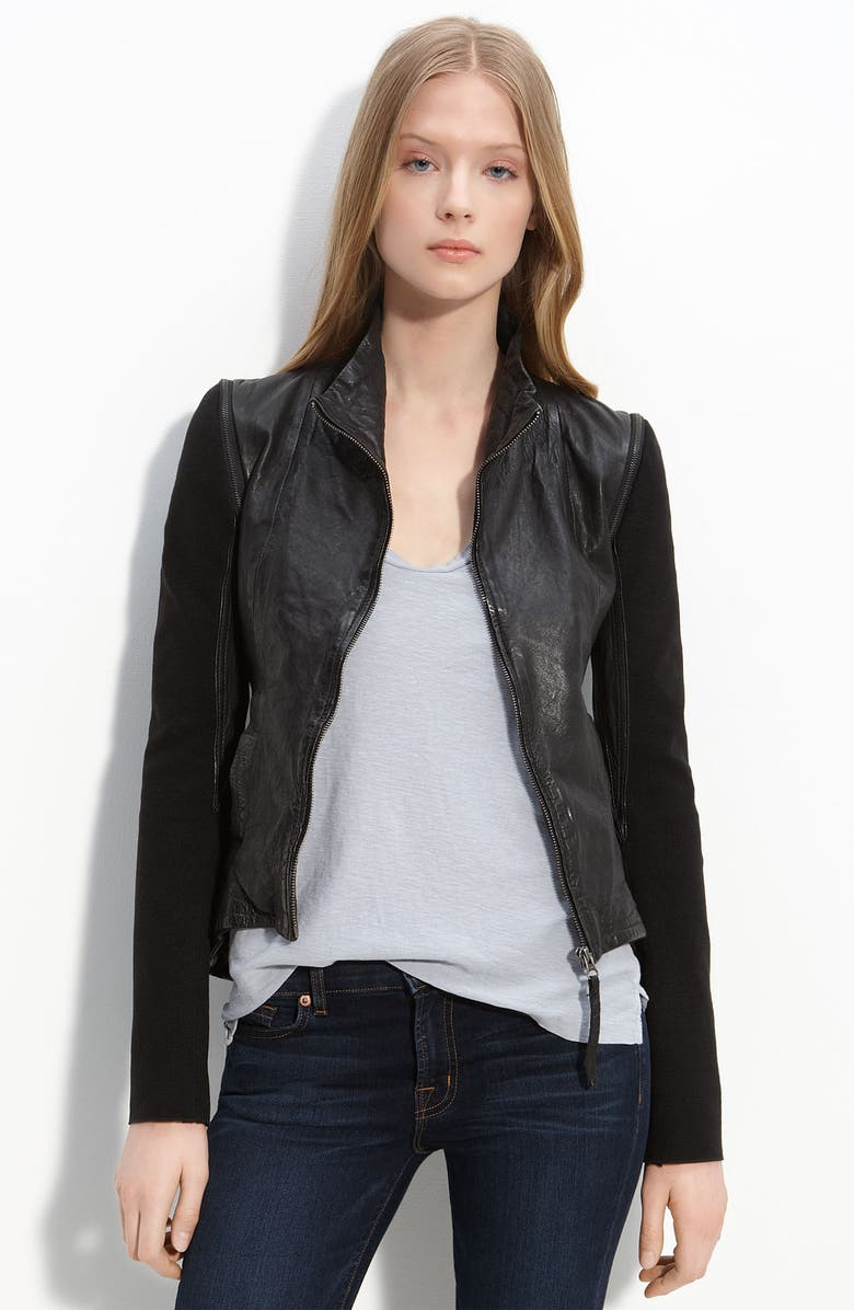 IMPROVD Convertible Leather Jacket, Main, color, Black