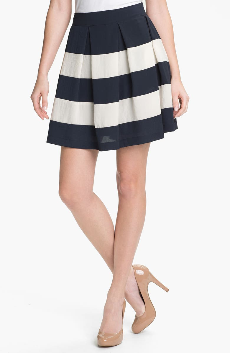 COLLECTIVE CONCEPTS Stripe Skirt, Main, color, NAVY