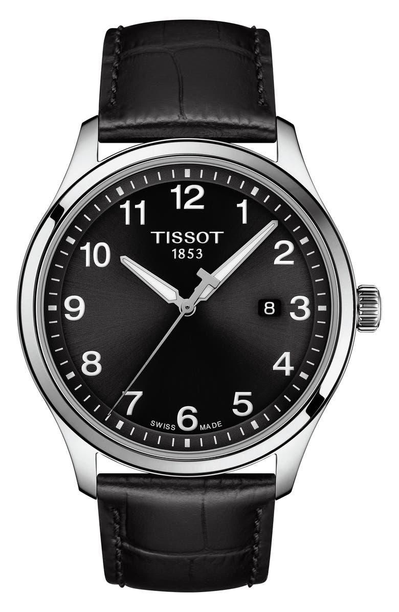 TISSOT Gent XL Classic Leather Strap Watch, 42mm, Main, color, BLACK/ SILVER