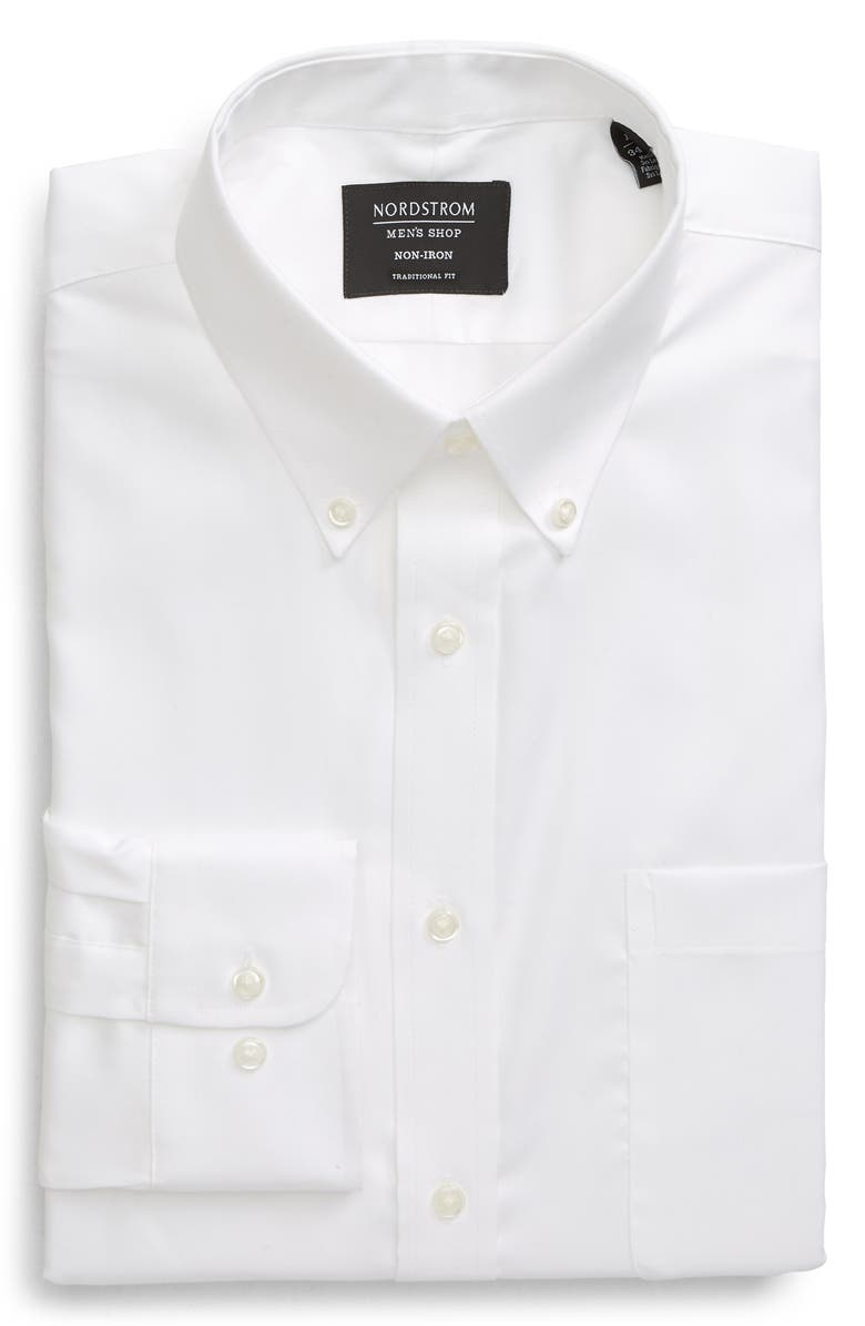NORDSTROM Traditional Fit Non-Iron Dress Shirt, Main, color, WHITE BRILLIANT