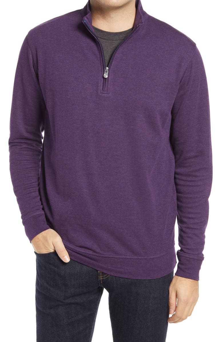 PETER MILLAR Comfort Interlock Quarter Zip Pullover, Main, color, PLUM SORBET
