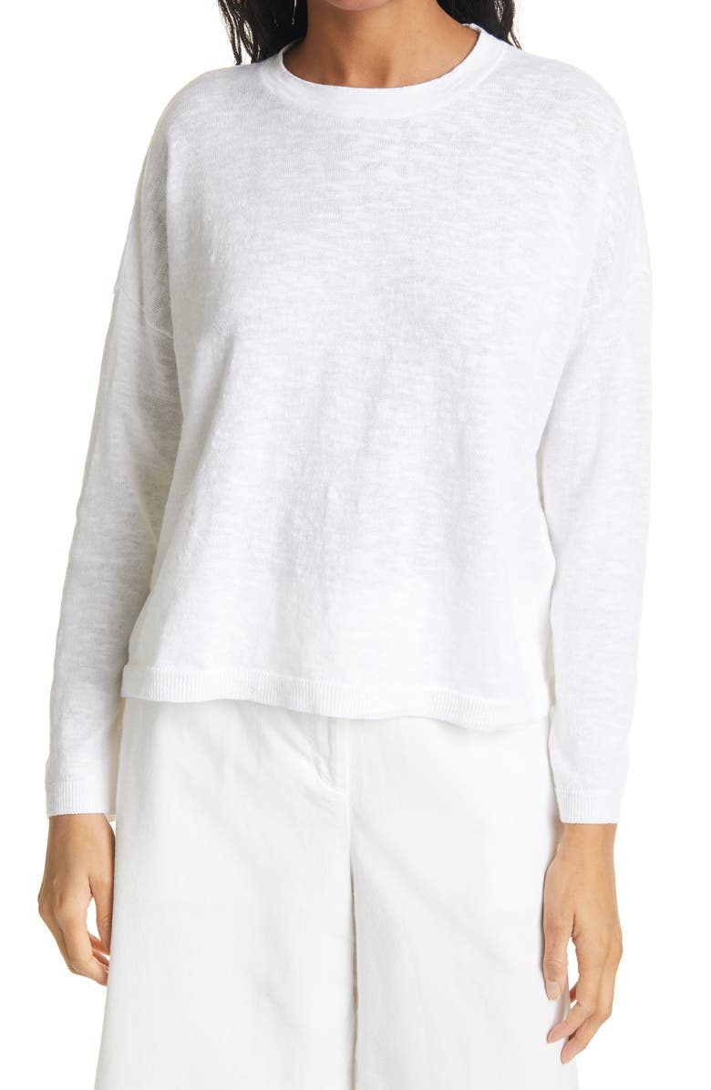 EILEEN FISHER Organic Linen & Cotton Crewneck Box Sweater, Main, color, WHITE