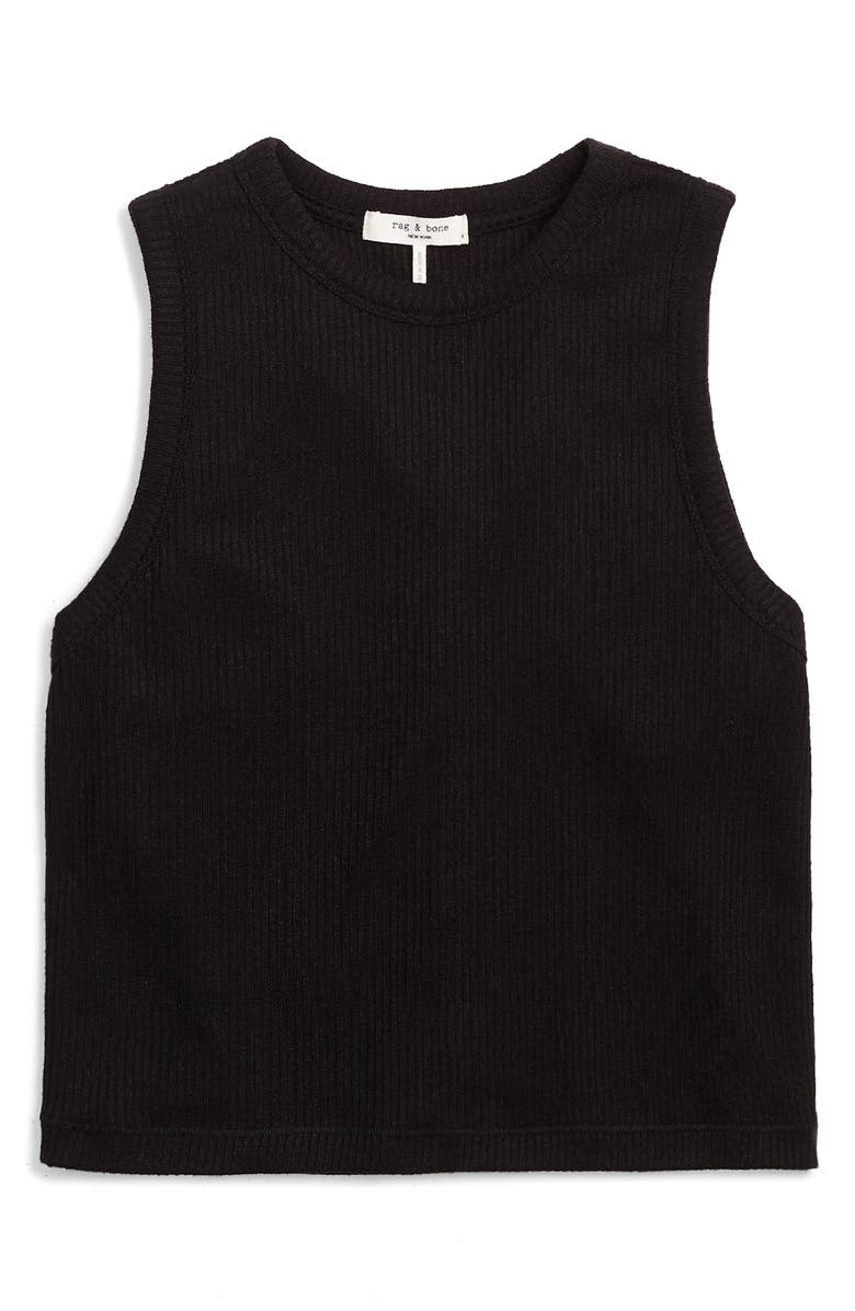 RAG & BONE Ribbed Crop Tank, Main, color, BLACK