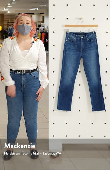 The Dazzler High Waist Fray Hem Crop Straight Leg Jeans, sales video thumbnail