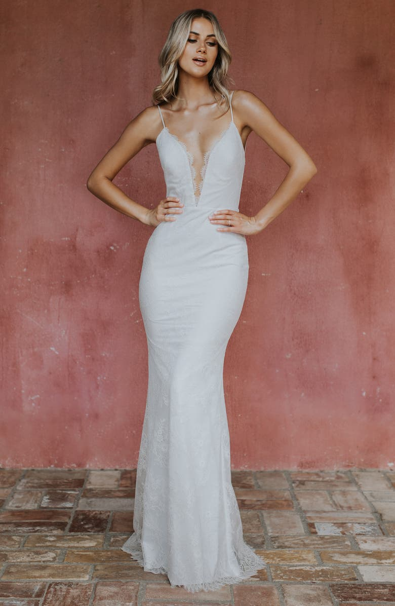 NOEL AND JEAN BY KATIE MAY Oh Baby Lace Trumpet Wedding Dress, Main, color, 900