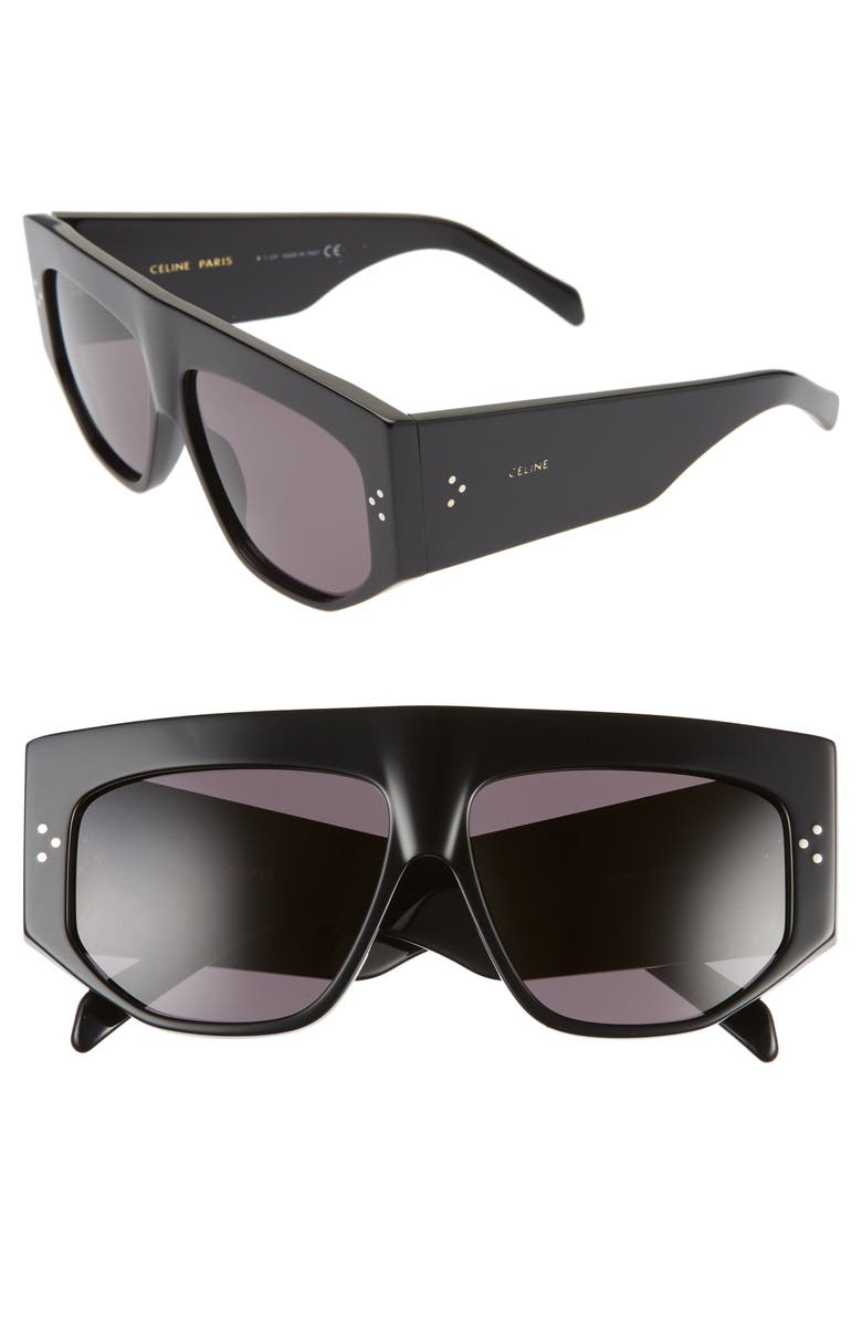 CELINE 59mm Flat Top Sunglasses, Main, color, 001