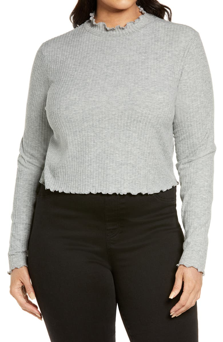 BP. Mock Neck Lettuce Trim Top, Main, color, GREY MEDIUM HEATHER