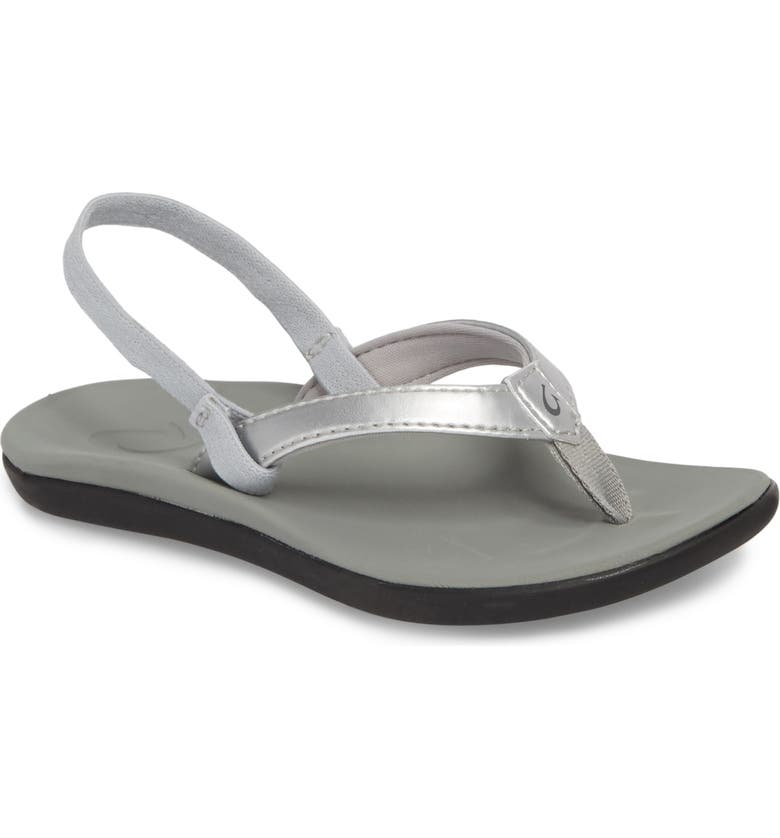 OLUKAI Ho'opio Sandal, Main, color, SILVER STAR/ PALE GREY