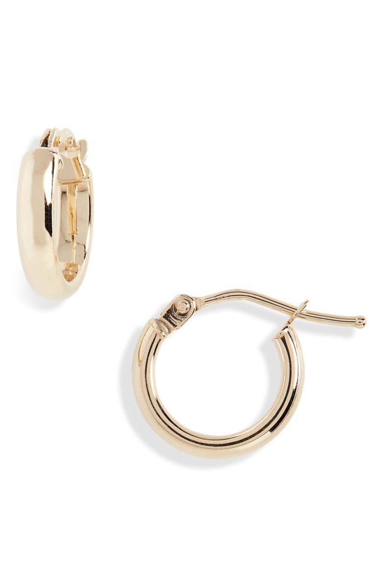 BONY LEVY 14K Gold Beveled Edge Huggie Hoop Earrings, Main, color, YELLOW GOLD