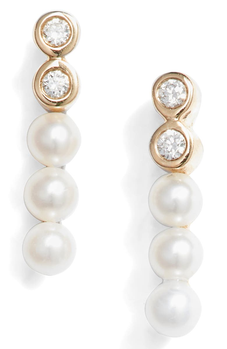 DANA REBECCA DESIGNS Pearl & Diamond Bar Stud Earrings, Main, color, 710