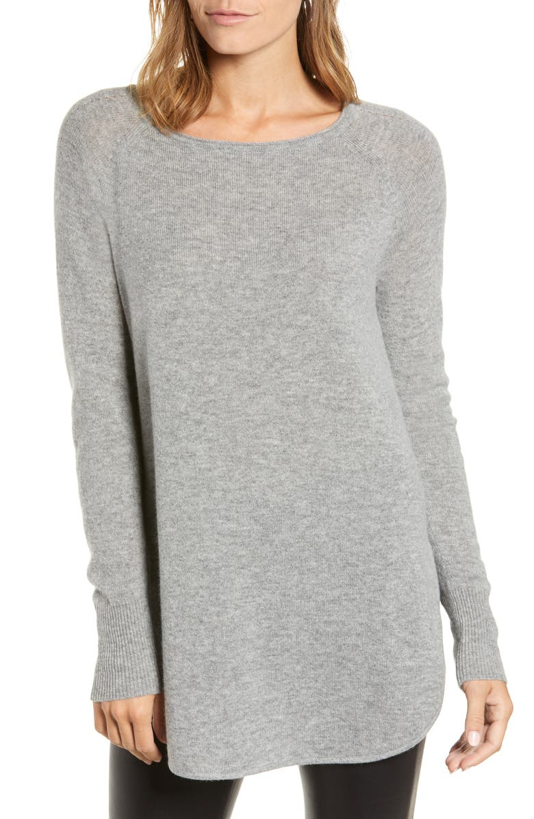 HALOGEN<SUP>®</SUP> Shirttail Wool & Cashmere Boatneck Tunic, Main, color, 031