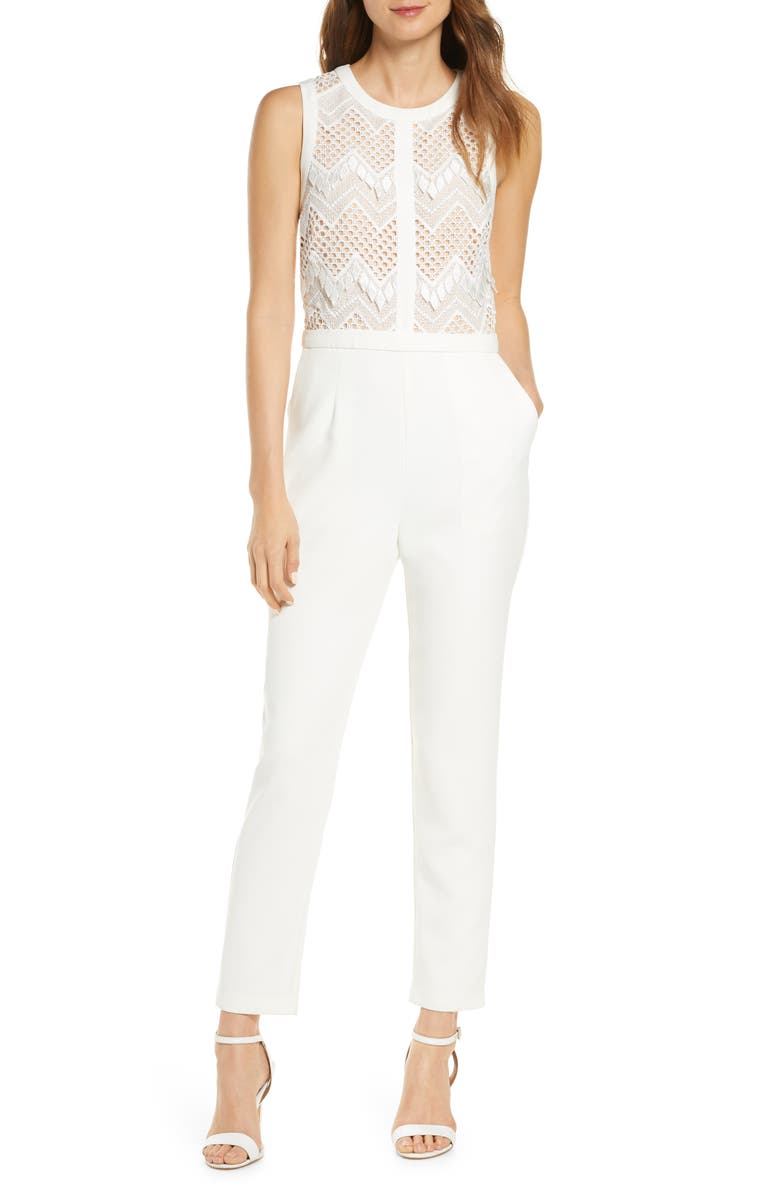 ADELYN RAE Melody Lace Jumpsuit, Main, color, 100