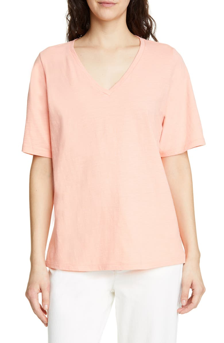 EILEEN FISHER V-Neck Organic Cotton Tee, Main, color, 832