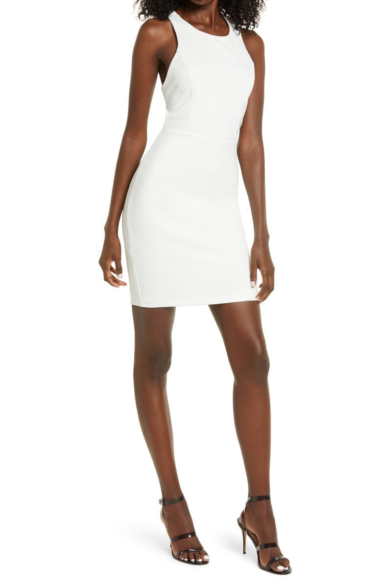 LULUS Feeling Right Strappy Body-Con Minidress, Main, color, WHITE