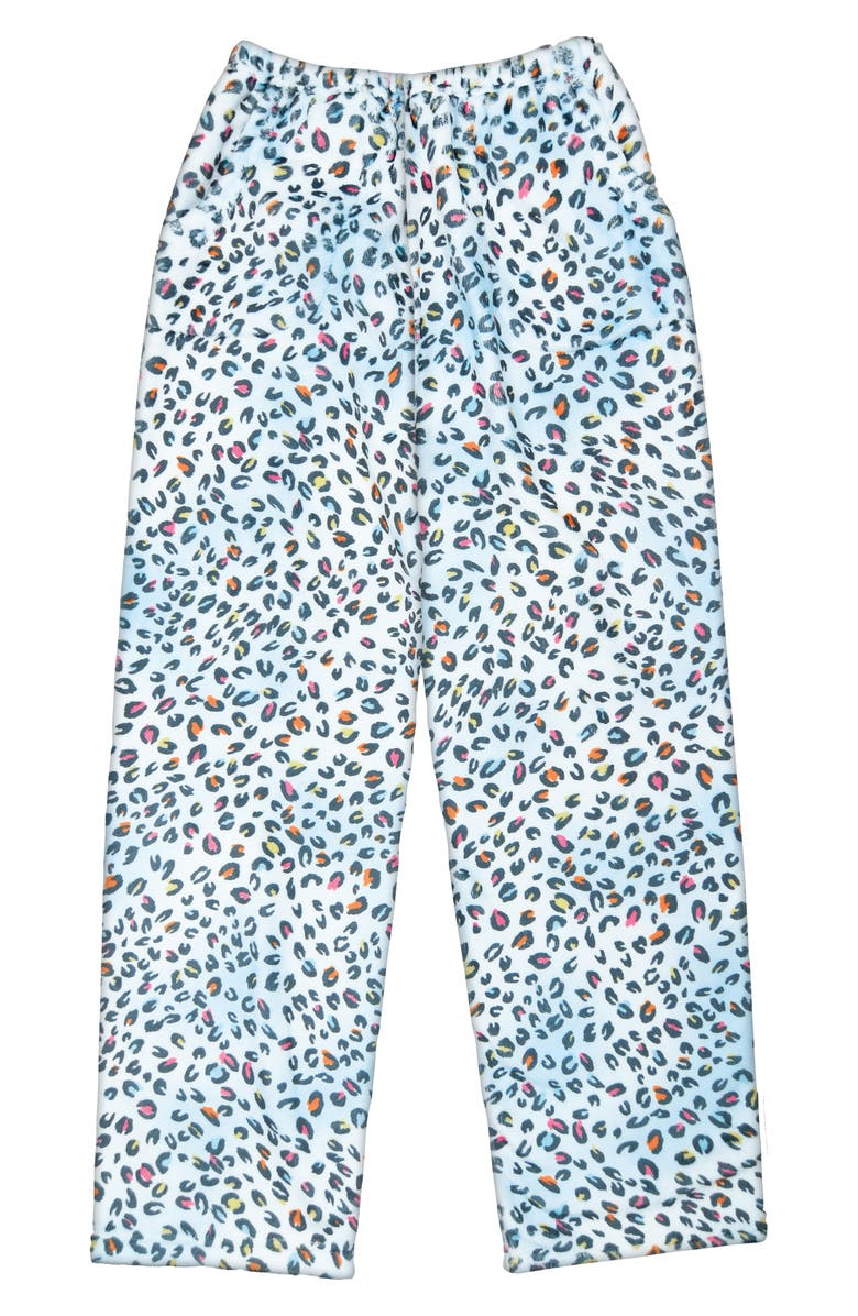 ISCREAM Pastel Leopard Fleece Lounge Pants, Main, color, BLUE