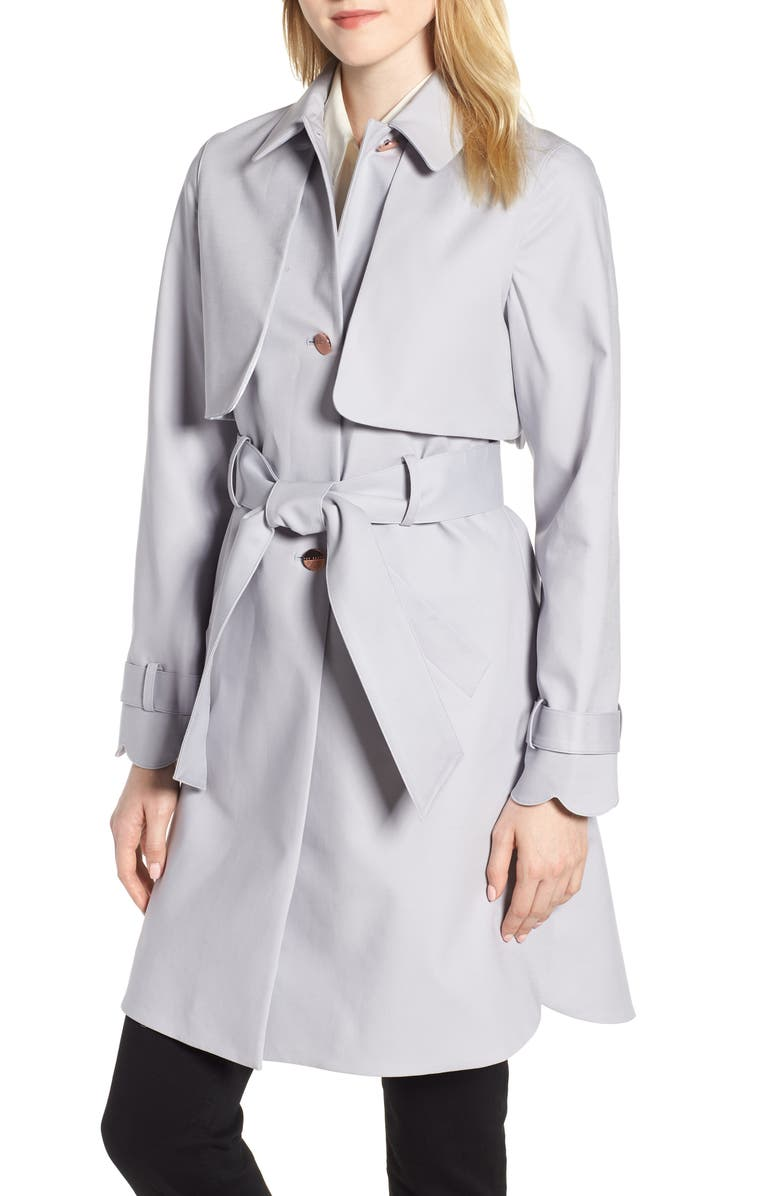 TED BAKER LONDON Scallop Detail Trench Coat, Main, color, GREY