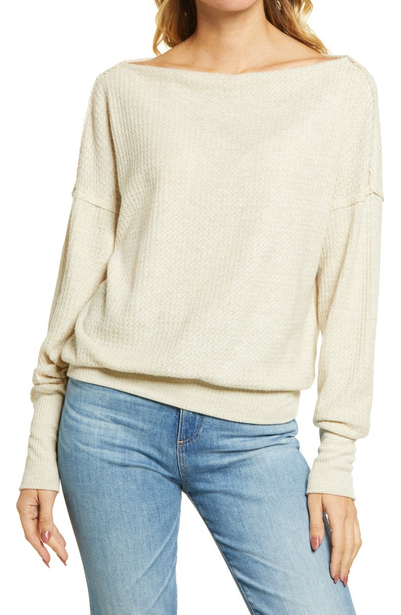 TREASURE & BOND Off the Shoulder Thermal Knit Top, Main, color, BEIGE OATMEAL