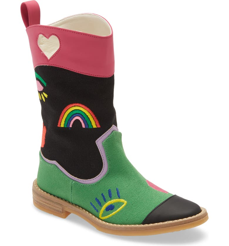 STELLA MCCARTNEY KIDS Rainbow Embroidered Western Boot, Main, color, 001