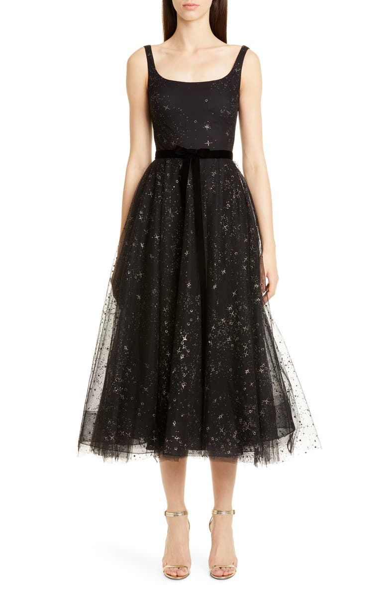 MARCHESA NOTTE Glitter Star Tulle Cocktail Dress, Main, color, 001