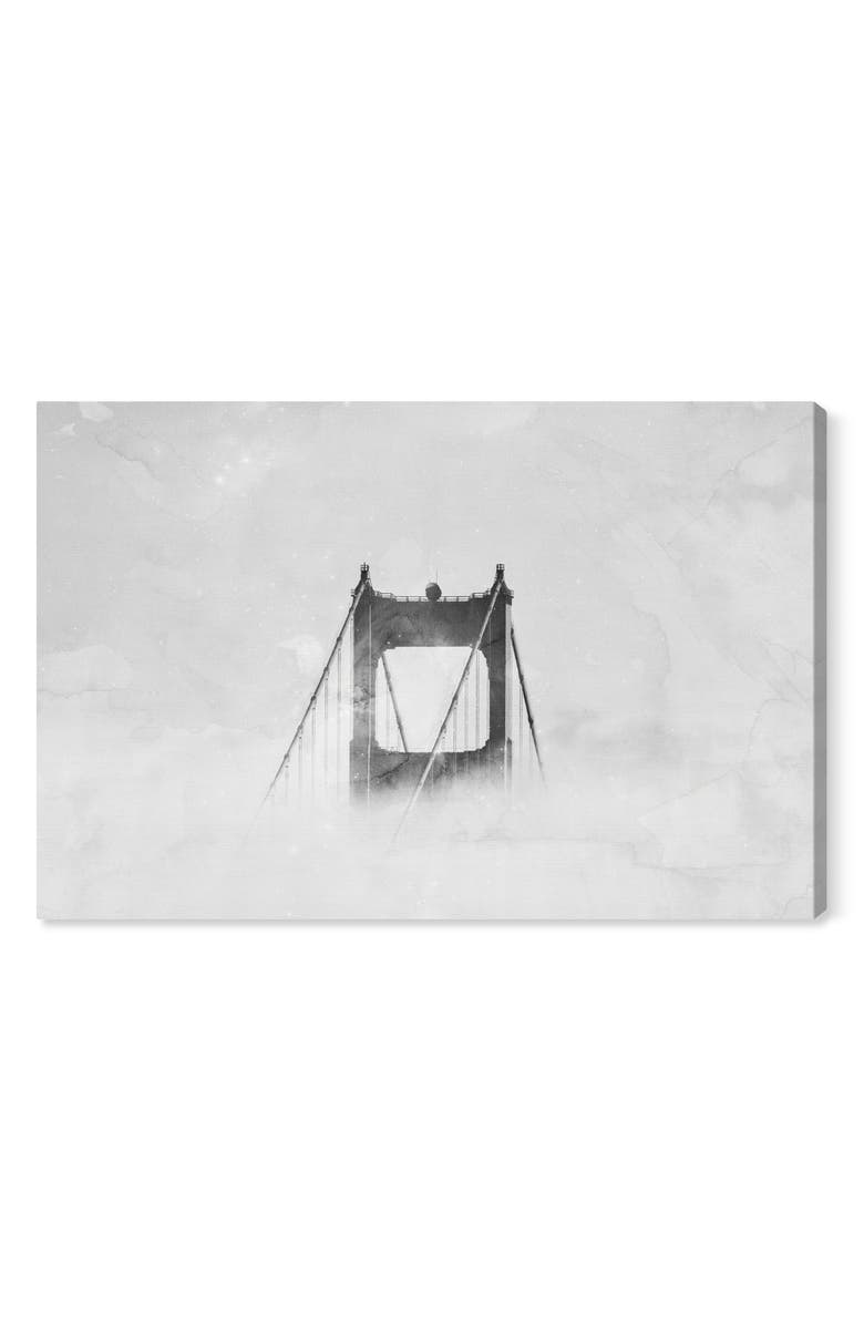 OLIVER GAL Up So High Golden Gate Bridge Canvas Wall Art, Main, color, WHITE
