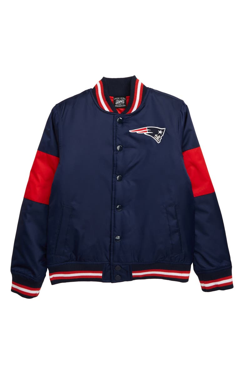 OUTERSTUFF NFL Logo New England Patriots Throwback Varsity Jacket, Main, color, 400