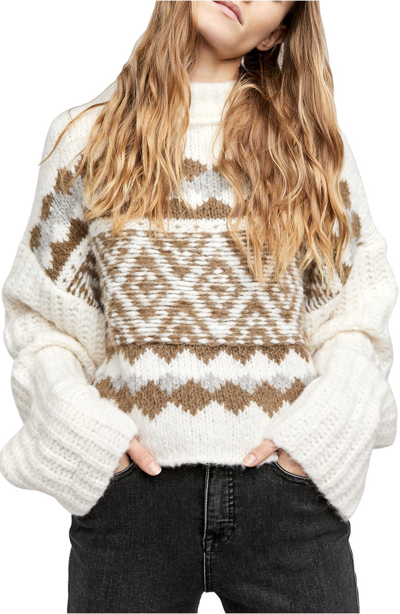 FREE PEOPLE Alpine Crop Mock Neck Sweater, Main, color, SNOWY FORREST COMBO