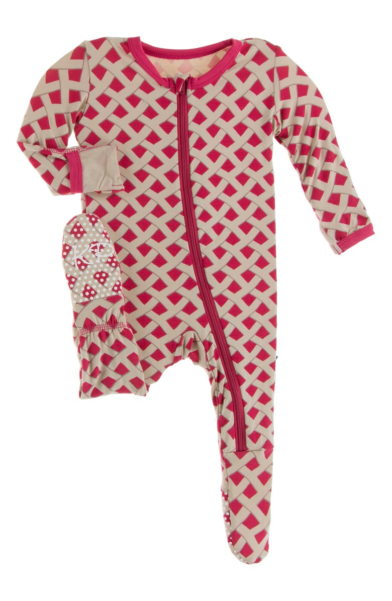 KICKEE PANTS Pie Crust Print Fitted One-Piece Pajamas, Main, color, SUMMER BERRY PIE