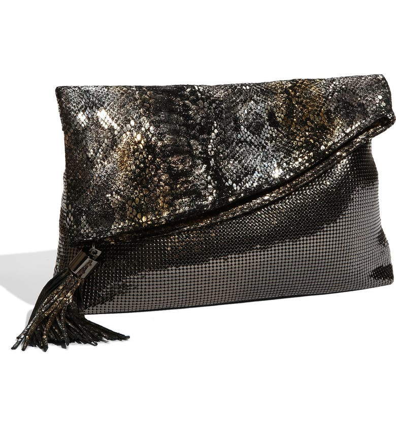 WHITING & DAVIS Snake Embossed Leather & Metallic Mesh Clutch, Main, color, 009