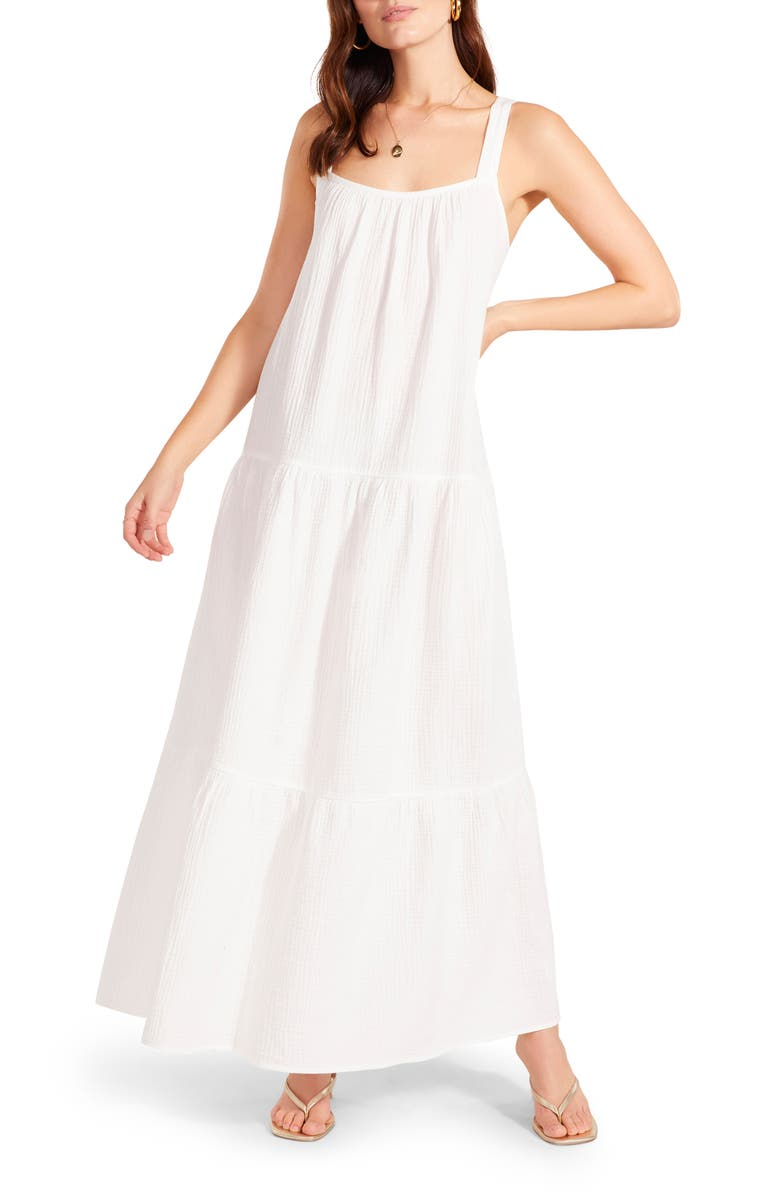 BB DAKOTA Arianna Sleeveless Tiered Cotton Maxi Dress, Main, color, WHITE