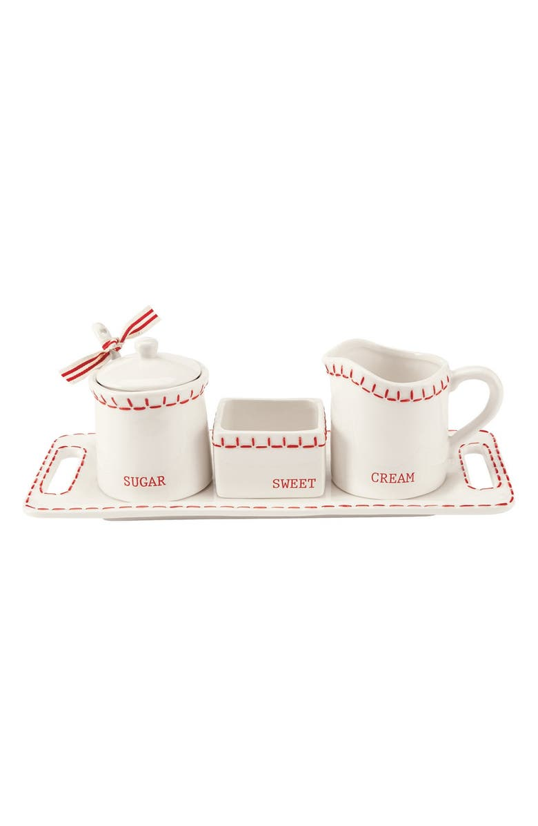 MUD PIE 'Deck the Halls' 6-Piece Ceramic Cream & Sugar Set, Main, color, 100