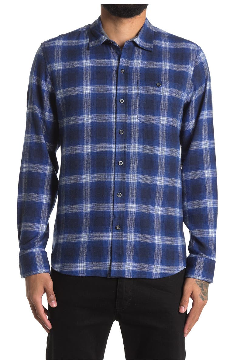 ENGLISH LAUNDRY Copper & Oak Recycled Flannel Shirt, Main, color, ROYAL BLUE