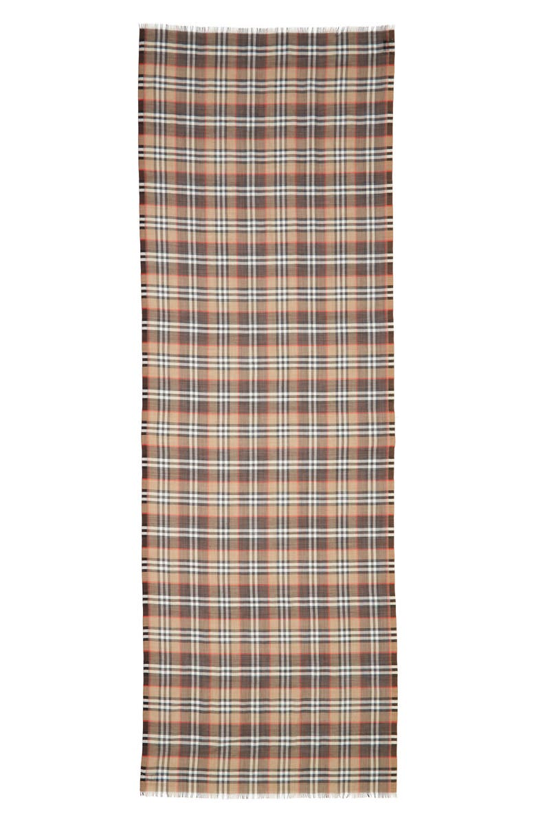BURBERRY Vintage Check Wool & Silk Gauze Scarf, Main, color, 100
