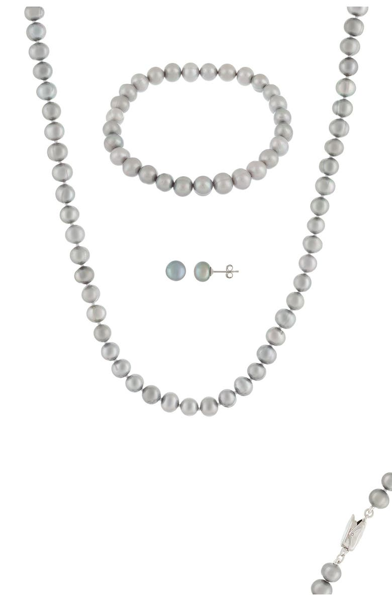 SPLENDID PEARLS 6.5-7mm Dyed Gray Cultured Freshwater Pearl 3-Piece Set, Main, color, DYED GRAY