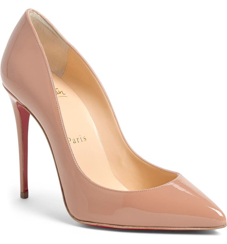 CHRISTIAN LOUBOUTIN Pigalle Follies Pointed Toe Pump, Main, color, NUDE PATENT
