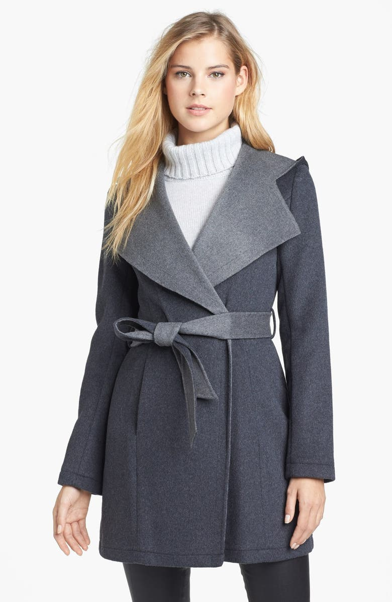 LAUNDRY BY SHELLI SEGAL Hooded Double Face Wrap Coat, Main, color, CHARCOAL/ GREY