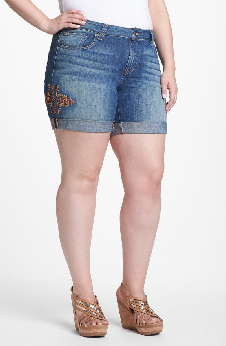LUCKY BRAND 'Ginger' Embroidered Jean Shorts, Main, color, 462
