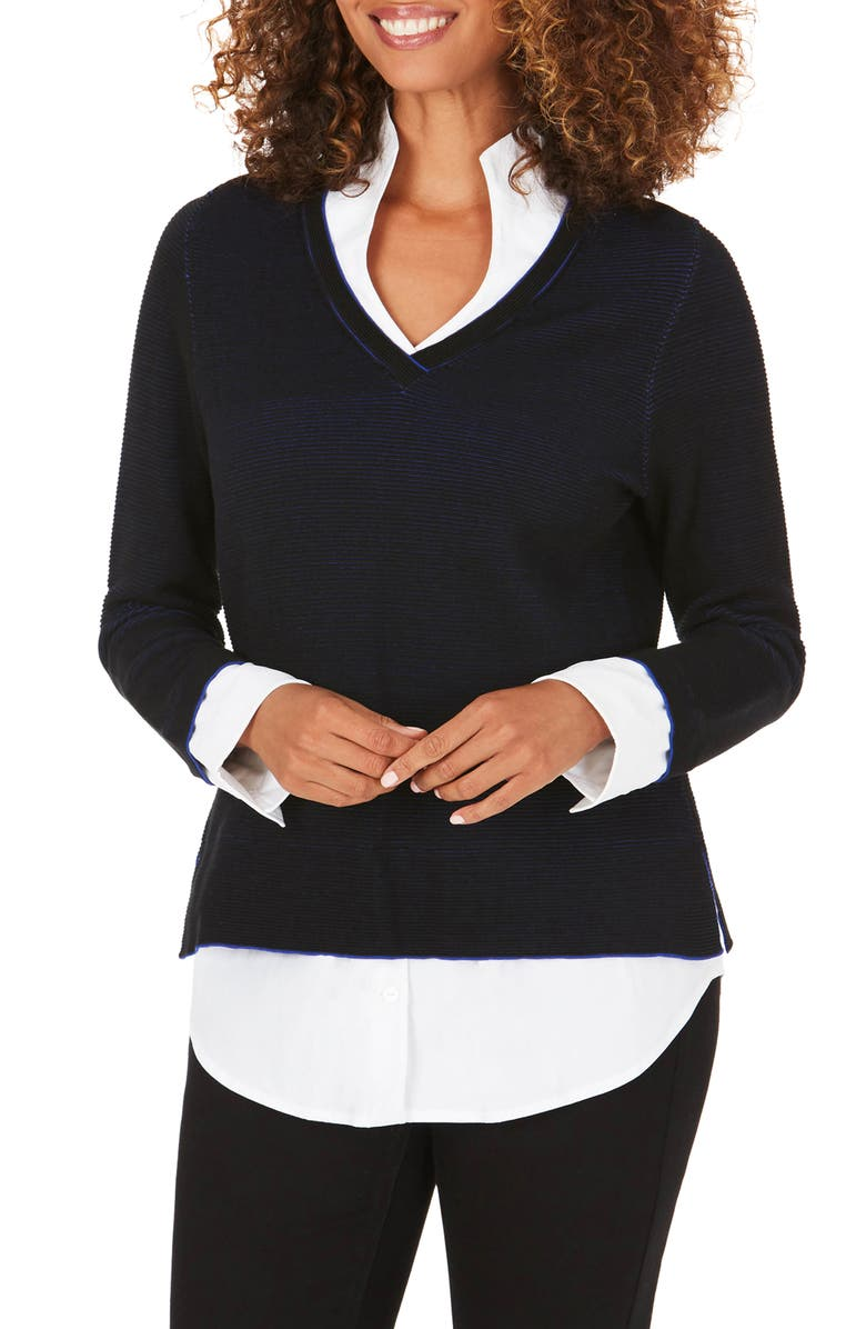 FOXCROFT Mika Layered Look Sweater, Main, color, 001