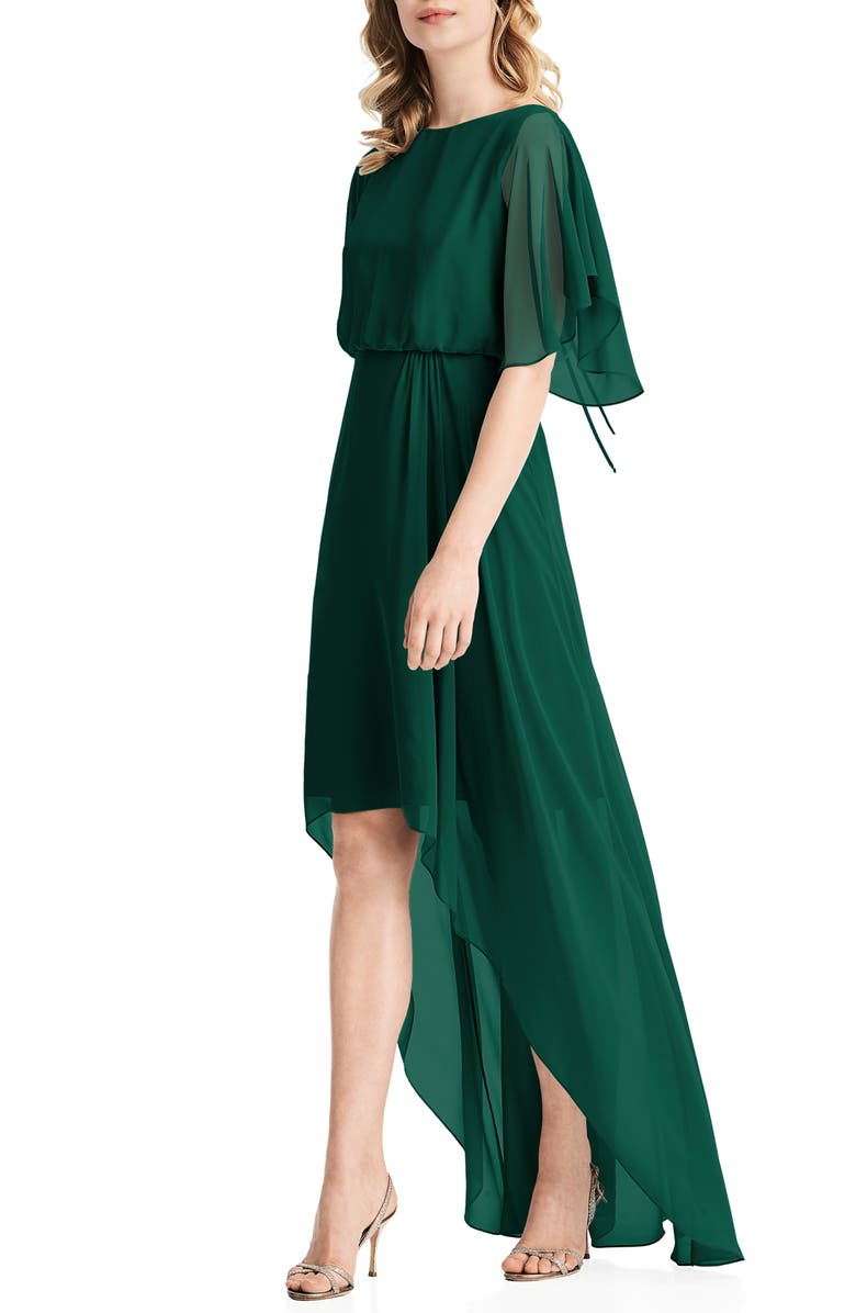 JENNY PACKHAM Flutter Sleeve High/Low Chiffon Gown, Main, color, HUNTER
