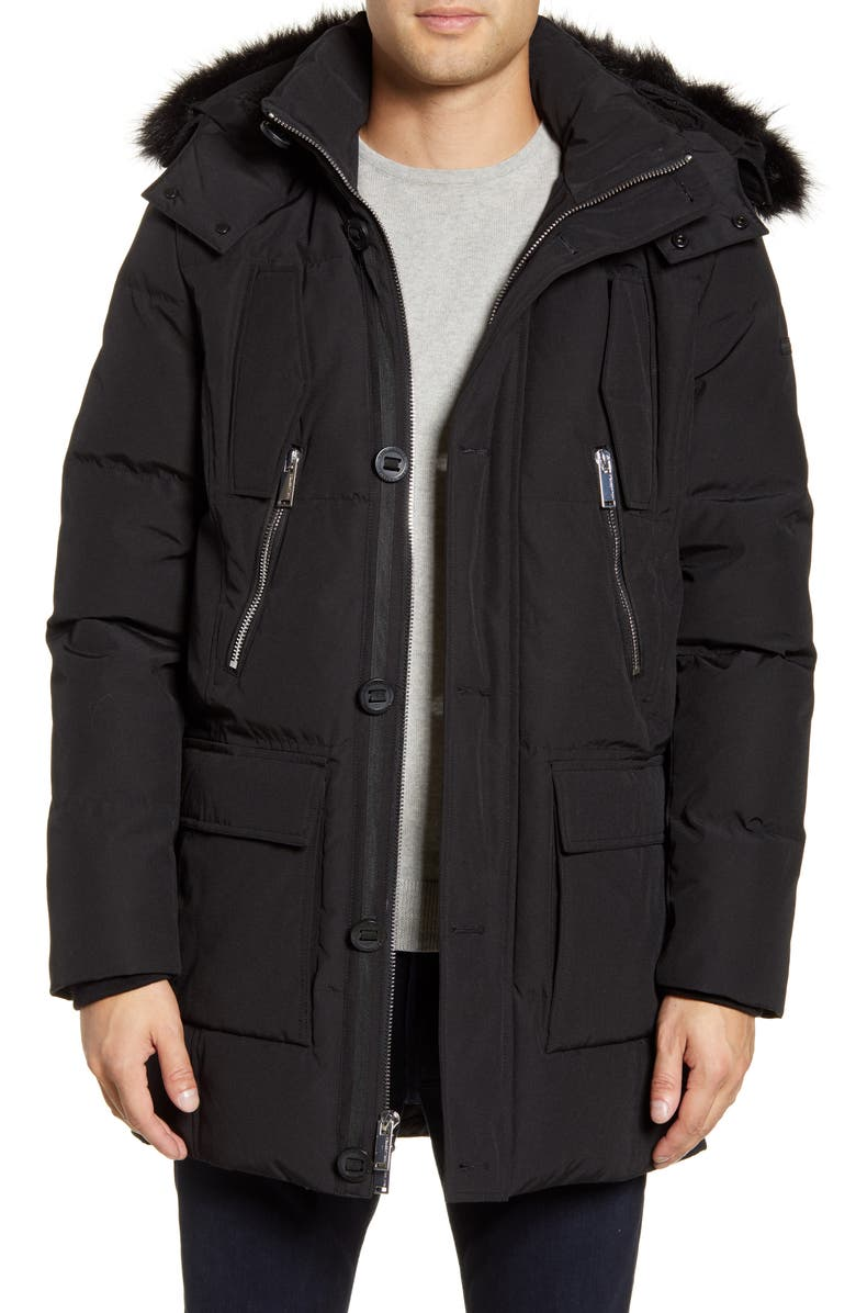 KARL LAGERFELD PARIS Faux Fur Trim Down & Feather Quilted Parka, Main, color, 001