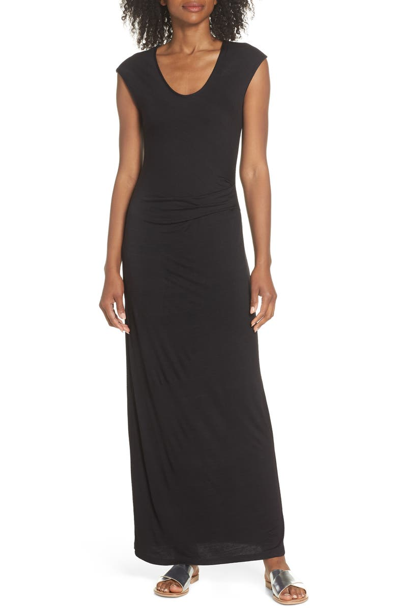 FRAICHE BY J Ruched Jersey Maxi Dress, Main, color, 002