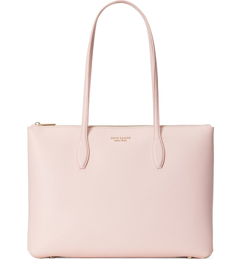 KATE SPADE NEW YORK large all day leather tote, Main, color, CHALK PINK