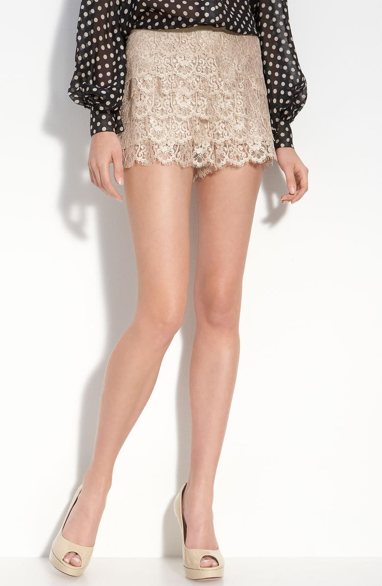 HAUTE HIPPIE Tiered Lace Shorts, Main, color, 110