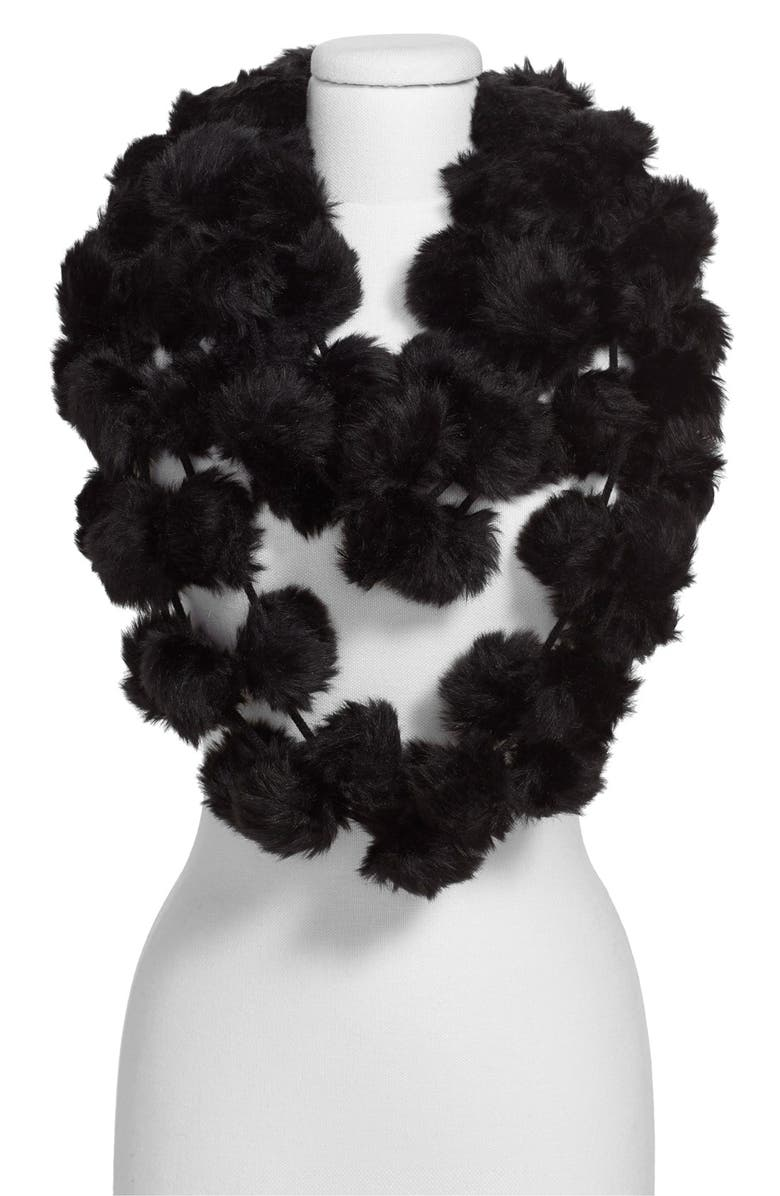 LEITH Faux Fur Pom Infinity Scarf, Main, color, 001