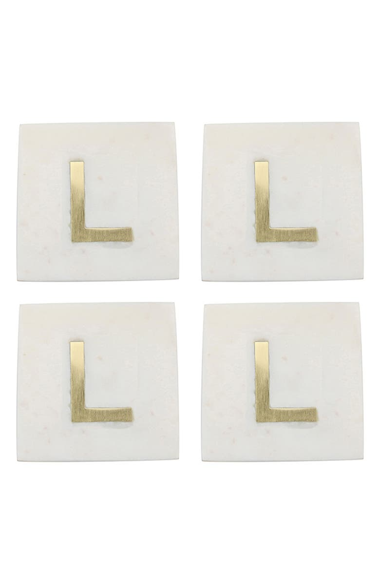 BE HOME Set of 4 Monogram Marble Coasters, Main, color, L