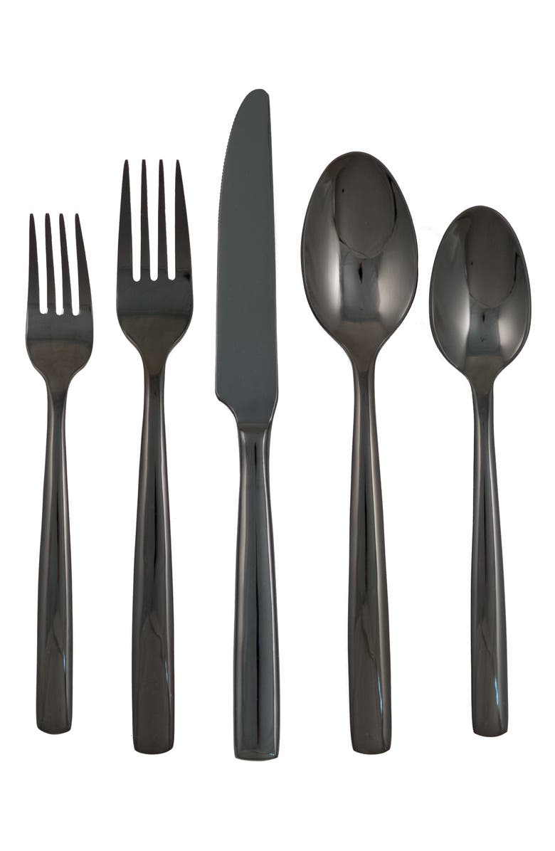 GINKGO FLATWARE Simple 44-Piece Flatware Set, Main, color, BLACK