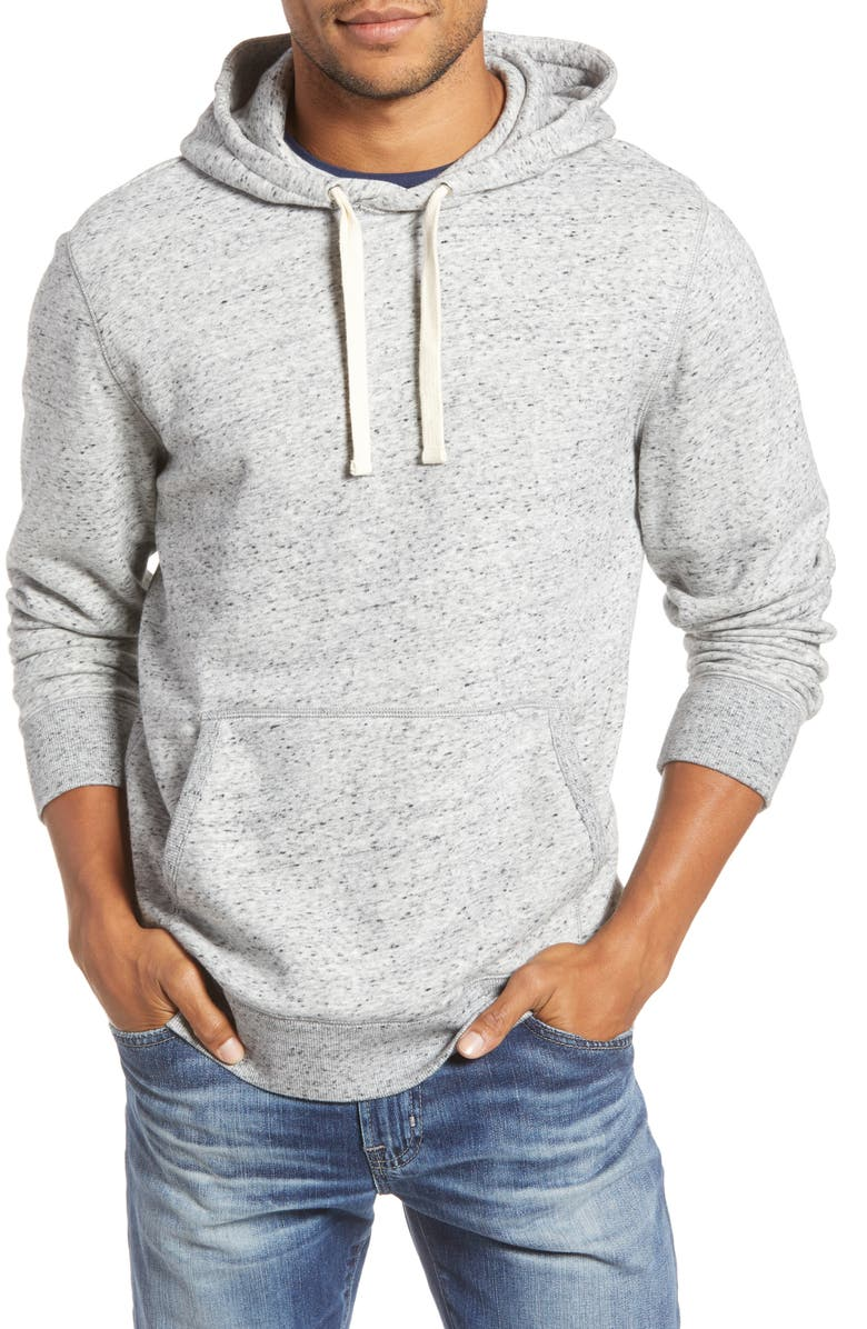 1901 Marled Cotton Blend Pullover Hoodie, Main, color, GREY HEATHER