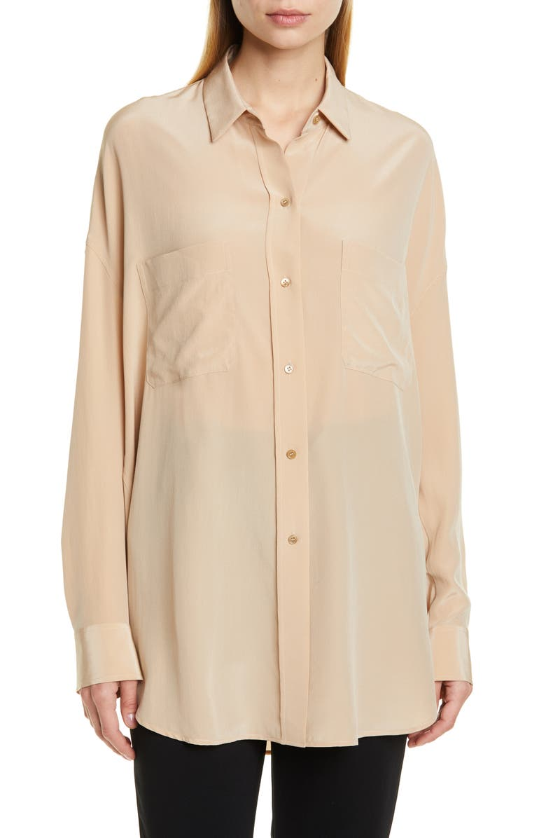 VINCE Oversize Silk Button-Up Blouse, Main, color, 250
