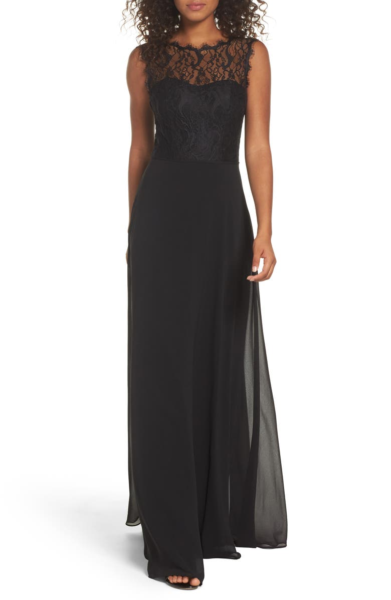 HAYLEY PAIGE OCCASIONS Lace & Chiffon A-Line Gown, Main, color, 001