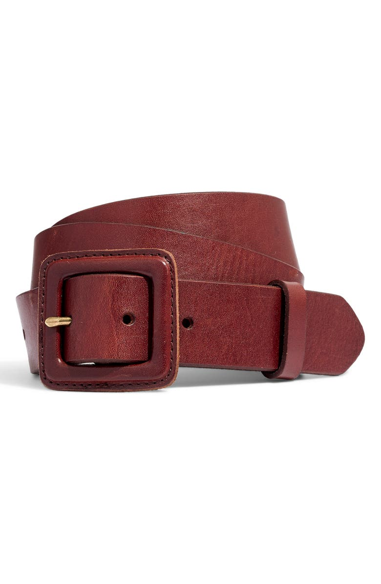 MADEWELL Leather Covered Buckle Belt, Main, color, 200